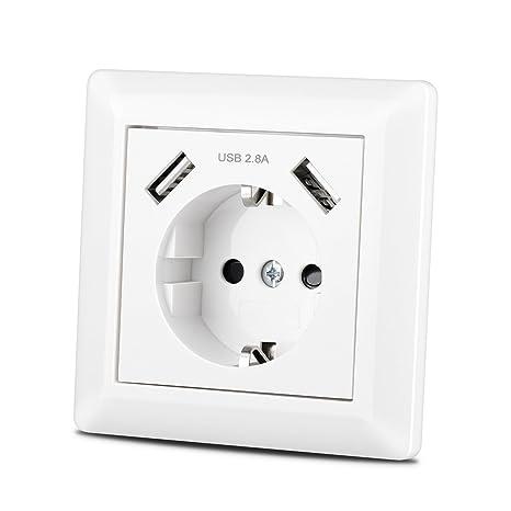 Steckdose mit USB Anschluss (Max. 2.8A) Schutzkontakt Schuko Wandsteckdose Unterputz System 55 Reinweiß Glänzend Weiß TÜV Gep