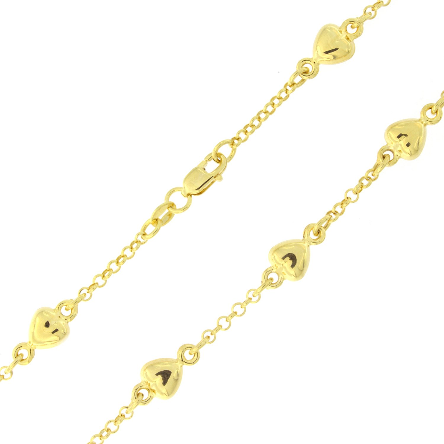 14k Yellow Gold Heart Station Adjustable Anklet - 9'' - 10''