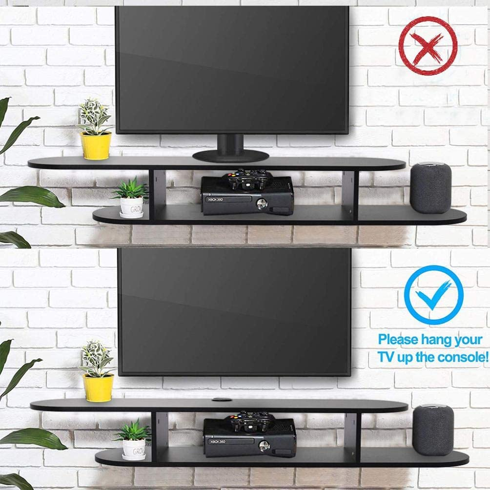 Black Asymmetry Floating TV Stand Shelf,TV Shelf Wall Mounted Media Console for Cable Box//DVD Player//Game Console Living Room Floating Wall Mounted TV Shelf