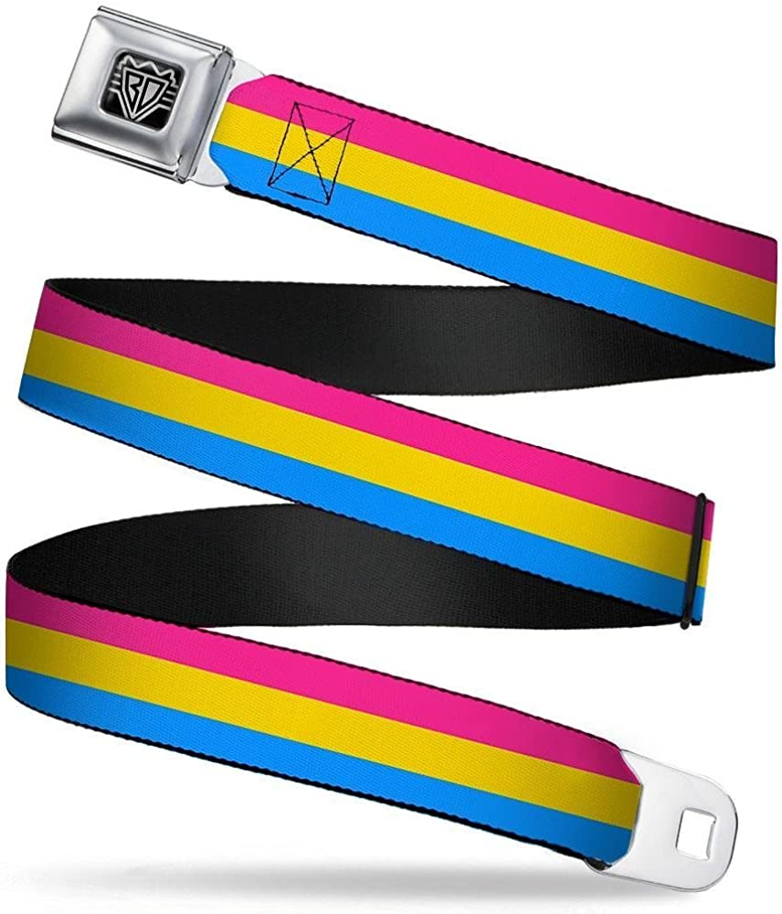Buckle-Down Seatbelt Belt 32-52 Inches in Length Flag Pansexual Pink//Yellow//Blue 1.5 Wide