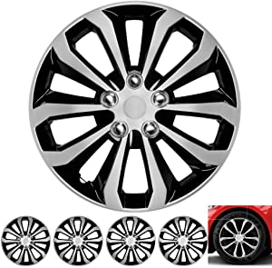 """BDK Wheel Guards – (4 Pack) Hubcaps for Car Accessories Wheel Covers Snap Clip-On Auto Tire Rim Replacement for 16 inch Wheels 16"""" Hub Caps (1061-IB)"""