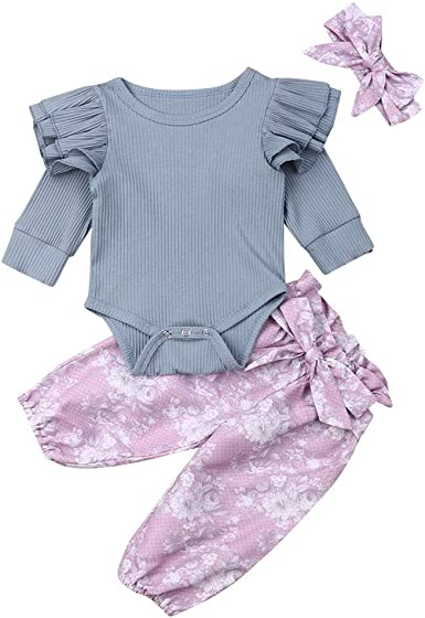 2PCS Kids Baby Girl O-Neck Bow Winter Long Sleeve Flower Shirt+Pant Set Clothing