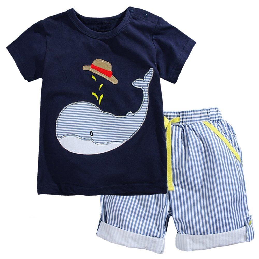 VIKITA Conjunto Dos Piezas Top y Pantalones Cortos Algodón Verano Niños 1-6 años