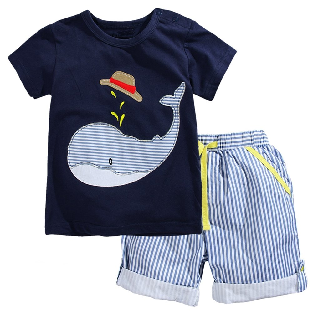 VIKITA Little Boys Summer Animals Printed 2 Pieces Cotton Short Sets