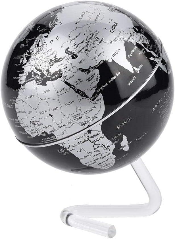 Argento Mappamondo da scrivania MAGT Mappamondo da mondo rotante da tavolo arrotondato liscio globo terrestre con supporto per bambini e adulti