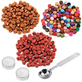 dark red sealing wax - Auihiay 300 Pieces 22 Colors Sealing Wax Beads Sticks Set with 1 Piece Wax Melting Spoon, 2 Pieces Candles for Postage Letter Retro Vintage Wedding Wax Seal Stamp