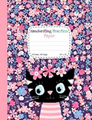 """• Handwriting practice paper notebook for kids, primary ruled with dotted midline - 1/2"""" ruling, 1/4"""" dotted midline, 1/4"""" skip space.        Great for early cursive and letter handwriting practice.       • Large - 8.5 x 11 inches (21..."""