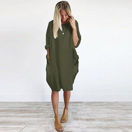 Overdose Vestido Suelto De Bolsillo para Mujer Breve Fashion Ladies Cuello Redondo Playa Tops De Vestir Casual Plus Size: Amazon.es: Ropa y accesorios