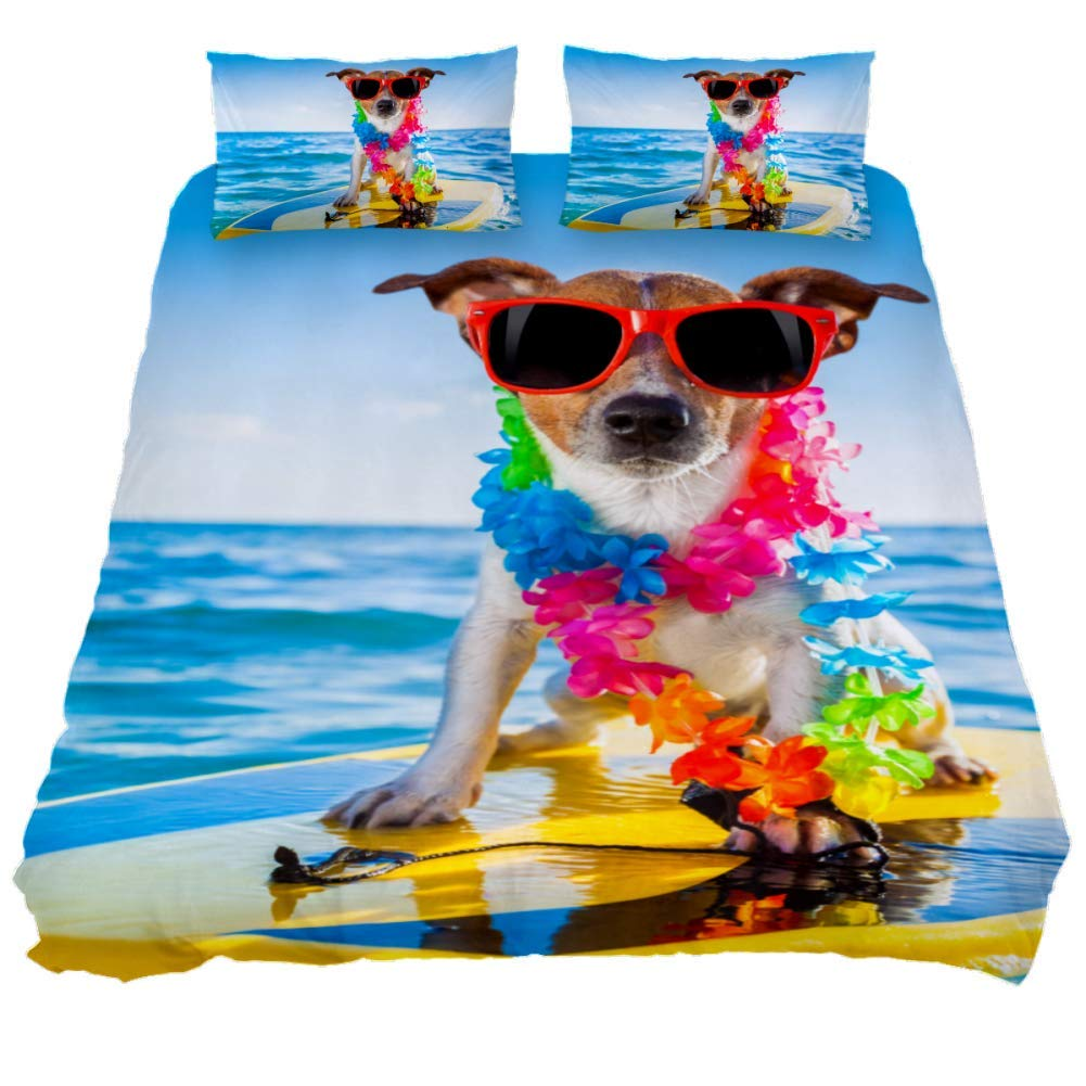 jessgirl Sea Fashion Surfing Dog 3D Printed Elegant Modern Queen Size Bedroom 3 Piece Bedding Sets