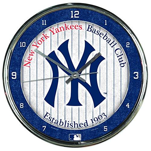 (MLB New York Yankees Chrome Clock, 12