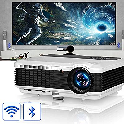 EUG LCD Wireless WiFi HD Projector WXGA Native 4600 Lumens, Bluetooth, Android, 1080P Supoport, LED Multimedia Smart Home Projectors Outdoor Movie ...