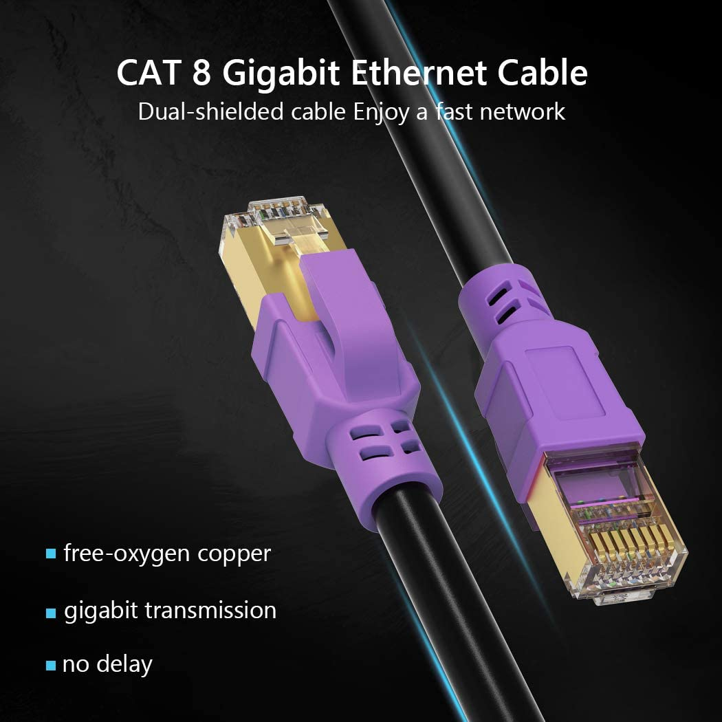 PC Heavy Duty High Speed Cat8 LAN Network RJ45 Cable- in Wall JewMod 26AWG Lastest 40Gbps 2000Mhz SFTP Patch Cord Cat 8 Ethernet Cable 1.5 ft Gaming Outdoor Weatherproof Rated for Router Modem
