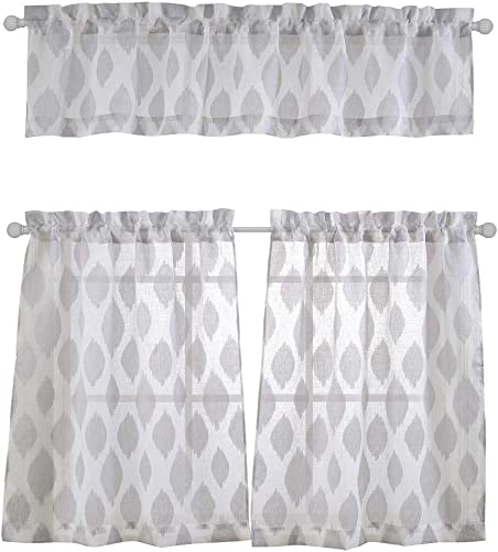 MYSKY HOME 3 Pieces Kitchen Curtains 36 inch Length Jacquard Rod Pocket Sheer Tier and Valance Curtain Sets Grey