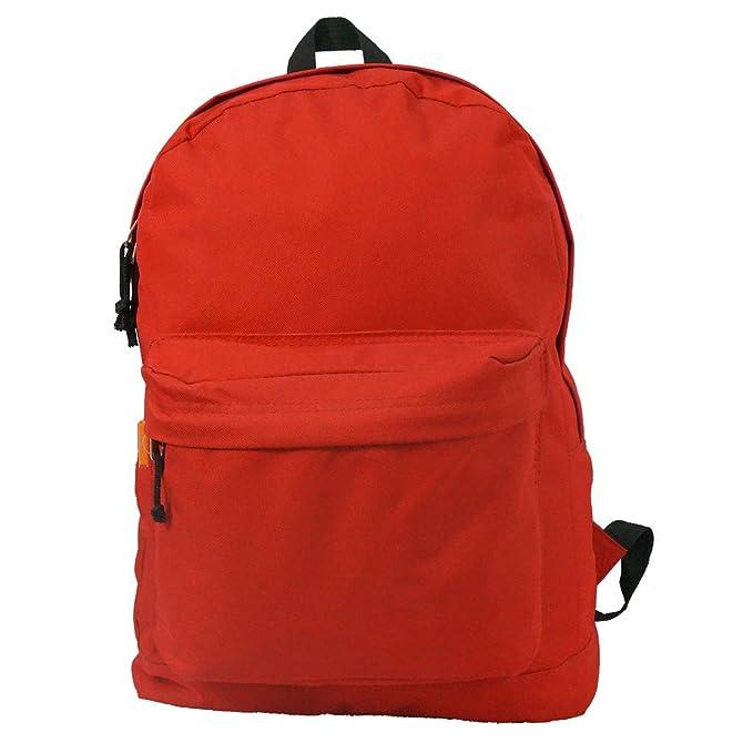 ecda3e98e6c5 Basic Backpack Classic Simple School Book Bag Student Daily Daypack 18 Inch  (Red)