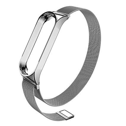 Modaworld _Correa de reloj Pulsera de Repuesto Xiaomi Mi Band 3 Pulsera de Acero Inoxidable milanesa