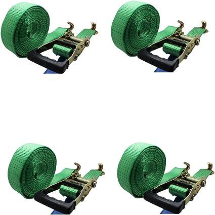 portata 5t verde cricchetto cinghie di tensionamento Ratchoox con impugnatura in gomma per rimorchio da carico verde