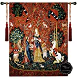 """Smell-the Lady and the Unicorn Medieval Jacquard Woven 33""""w X 47""""l Wall Hanging Tapestry"""