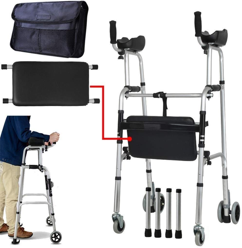FHRX Elderly Folding Rollator Walker with Seat and Arm Adjustable Height & 4 Wheels with Holder, Lightweight Aluminium Walking Mobility Aid for Elderly by FHRX