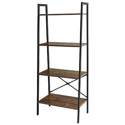 Lasuavy 4 Tier Ladder Shelf Bookcase Multifunctional Book Rack Storage  Shelves Plant Flower Stand Rack