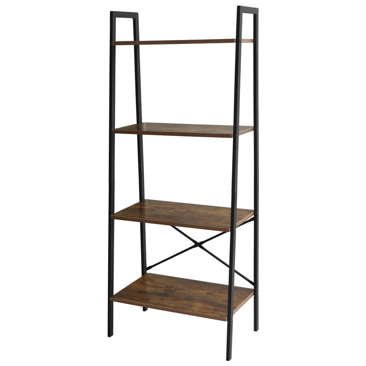 Lasuavy 4-Tier Ladder Shelf Bookcase Multifunctional Book Rack Storage Shelves Plant Flower Stand Rack, Premium Wood Furniture for Home, Office, Bathroom, Living Room