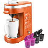 CHULUX Single Serve Coffee Machine and Four Pieces Reusable Coffee Filters,One Button Operation