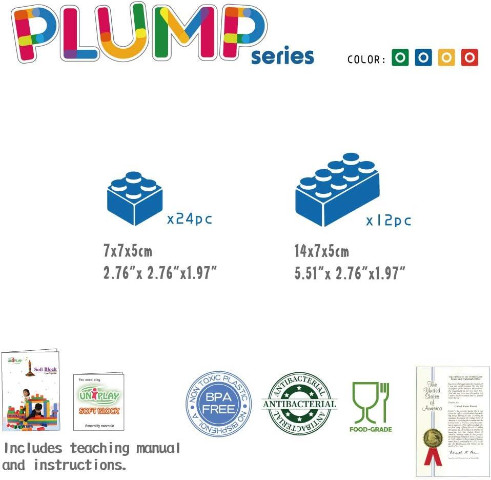 UNiPLAY Antibacterial Jumbo Soft Building Blocks Mix Series Multi colors 36pcs