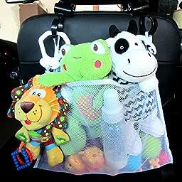 Bath Toy Organizer-Bonus 2 Stroller Hooks can also be used as a Crib Caddy, Stroller or Back Seat Organizer
