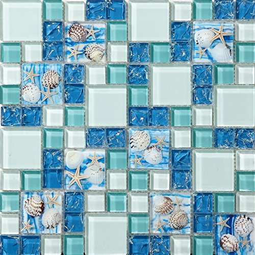 Glass Ice Tile - Hominter 11-Sheets Blue Ice Crack Glass Tile, White and Teal Bathroom Wall Tiles, Beach Style House Kitchen Backsplash GC370
