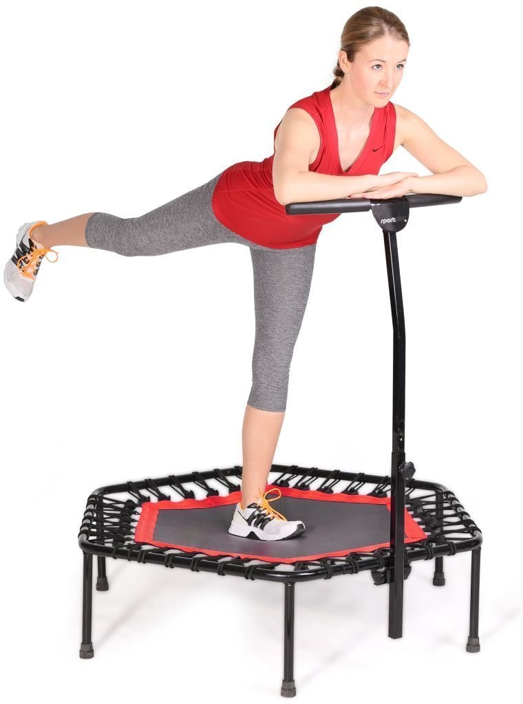 Fashine Fitness Trampoline Bungee-Rope-System with Adjustable Handlebar, Portable Foldable Durable Safe Trampoline(US STOCK) (Red)