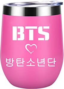 Kpop BTS Bangtan Boys 12oz Insulated Wine Tumbler Stainless Steel Tumbler Cup with Lid for Army Gifts (Rose)