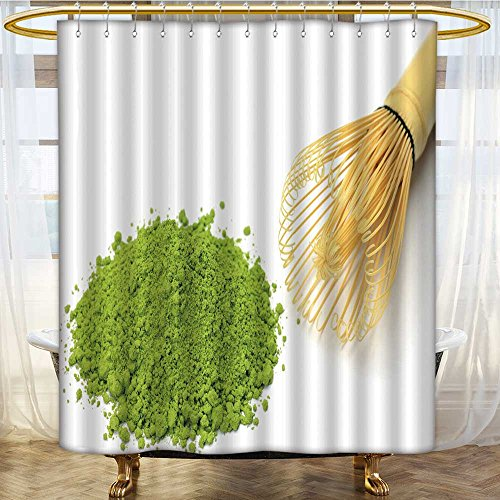 AmaPark Water Repellent Fabric Shower Curtain or Liner powdered green tea Printed bathroom curtain