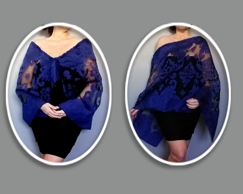 7e68b7cb71ec4 Plus Size Navy Evening Wrap Dark Blue Stole Black Organza Shawl By ...