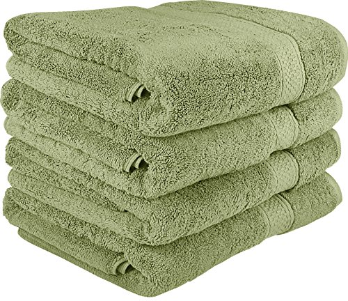 700 GSM Premium Bath Towels Set - Cotton Towels for Hotel and Spa, Maximum Softness and Absorbency by Utopia Towels (4 Pack) (sage green) (Towel Green)