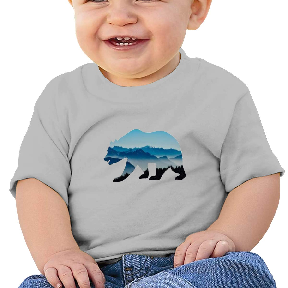 JVNSS Bears Mountains Baby T-Shirt Little Baby Cotton T Shirts Crew Neck Graphic T-Shirt for 6M-2T Baby