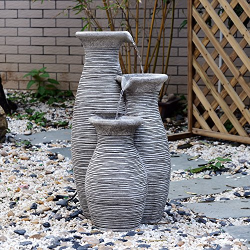 Indoor water water wall fountain amazon outsunny 26 three pitcher pouring indooroutdoor water fountain workwithnaturefo