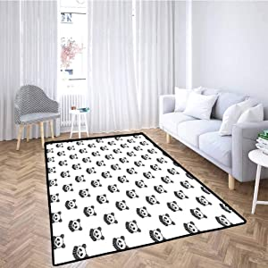 Tattoo Hallway Rug Stylized Panda Bear Portraits Cute Mascots Pattern for Children in Black and White for Toddlers, Stylish & Pet-Friendly Black White 6x9 Feet