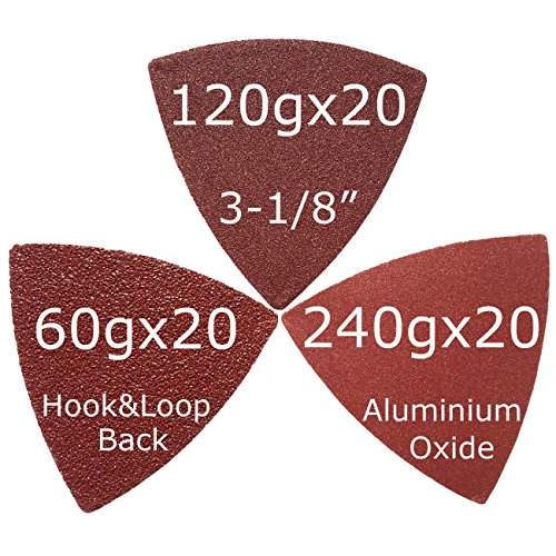 XXGO 60 Pcs Assorted 60/120/240 Grits 3-1/8 Inch Triangular Hook & Loop Oscillating Tool Sandpaper for Sanding Wood Contains 20 of Each Fit 3-1/8 Inch Oscillating Multi Tool Sanding Pads