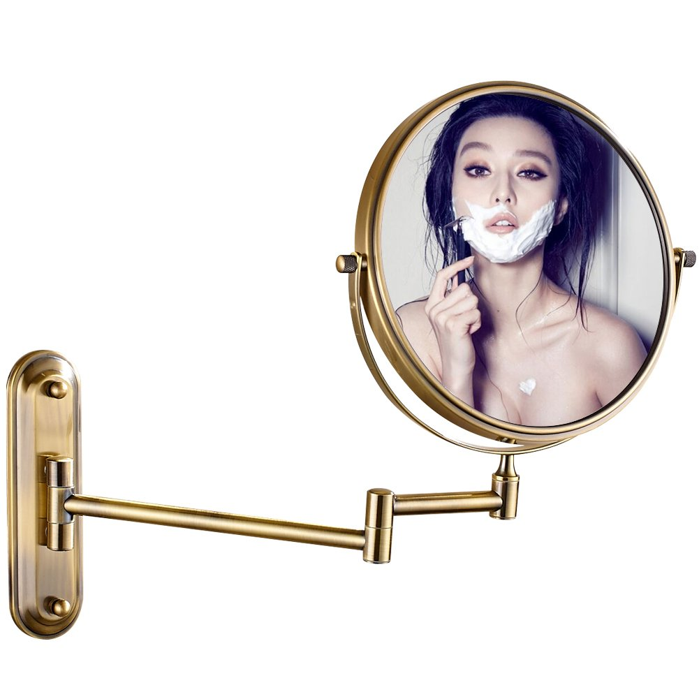 Amazon gurun 85 inch led lighted wall mount makeup mirror gurun two sided swivel wall mounted makeup mirror with 10x magnificationantique brass 1206k amipublicfo Choice Image