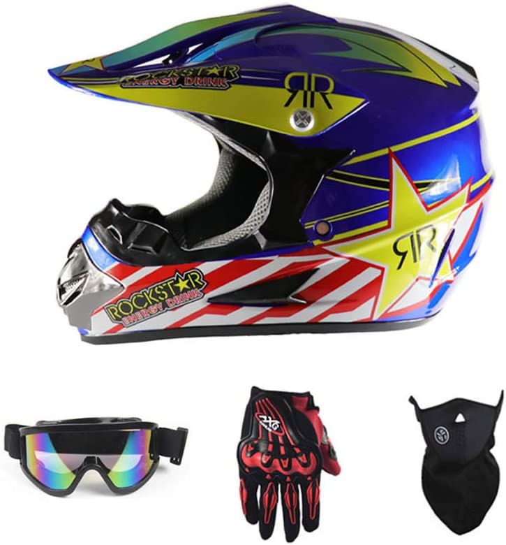 LEENY Motocross Helmet with Goggles Gloves Mask Four Seasons Unisex Motorcycle Off-Road Enduro Downhill Dirt Bikes Quads Motorbike Cross Country Crash Helmet for Adult Men Women