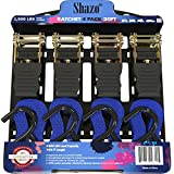 Heavy Duty 20 Ft 1500 Lbs Break Strength Ratchet Tie Down Straps, EXTRA LONG - 4 Pack - 500 Lbs Load Cap, Weather Res, Cargo Straps for Moving Appliances, Equipment, Motorcycle - Ergonomic Grip
