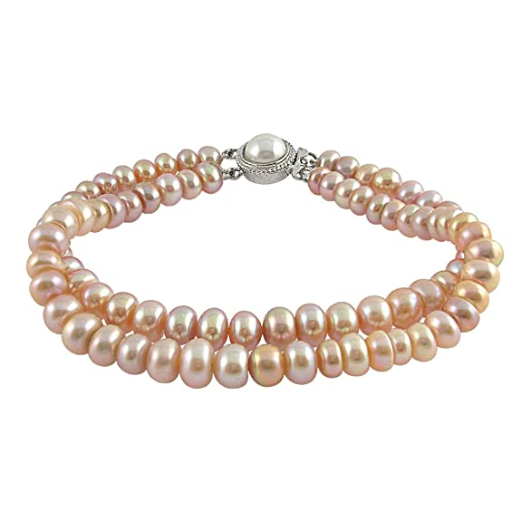Designer Two String Peach Pearl Bracelet Women's Bracelets at amazon