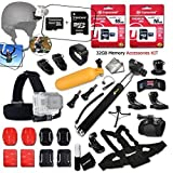 Xtech® 32GB Memory Accessory KIT for GoPro Hero4 Session, Hero4 HERO 4, Hero 3, Hero 3+ Hero 2 Hero2 and All GOPRO HERO Cameras Includes: 32GB Memory + Case + Monopod + Head Strap + MORE