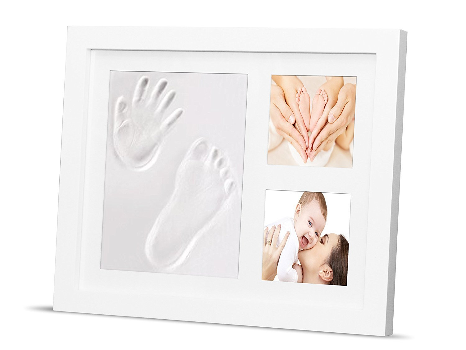 Newborn Baby Handprint Kit & Footprint Photo Frame for Newborn Girls and Boys, Shower Gift, Best Infant Clay Keepsake Gifts for Wall Decoration & Memory