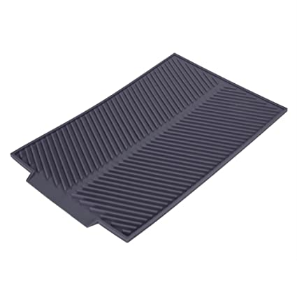 Zerone Drain Mat, Rectangle Silicone Drain Mat Drying Dishes Pad Heat Resistant with Slip-Proof Tray (Grey)