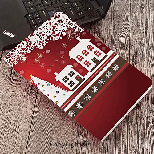 forSamsungGalaxyTabS3 9.7 T820 T825 Tablet Smart Cover Protective,Christmas Decorations,Winter Holidays Theme Gingerbread House Tree Lights and Snowflakes Art,Red White]()
