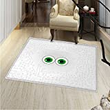 Trippy Print Area rug High-Tech Hardware Circuit Board Backdrop with Eye Forms Digital Picture Perfect for any Room, Floor Carpet 48''x60'' Pearl Black Jade Green