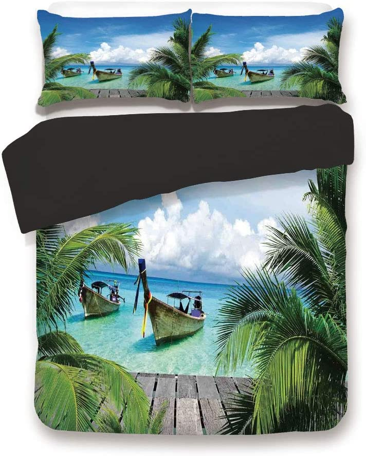 Pink 3pc Bedding Set,Beach and Tropical Sea Wooden Deck Floating Boats Sunshine Honeypot Twin Size Duvet Cover Set,Printed Comforter Cover with 2 Pillowcases for Women /& Girls