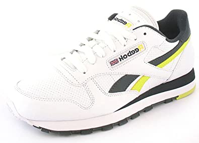 1b38e2249b418 Mens Gents White Reebok Classic Trainers With Leather Upper - White  Black Yellow
