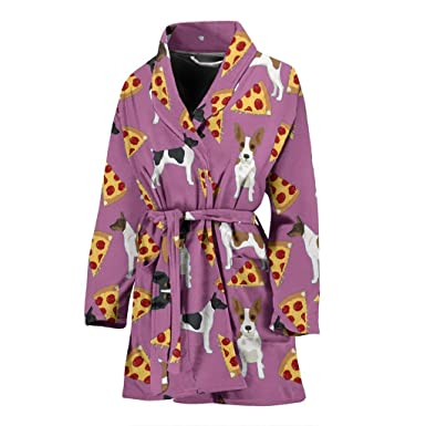 c886062681 Image Unavailable. Image not available for. Color  Rat Terrier Dog On Pizza  Print Women s Bath Robe