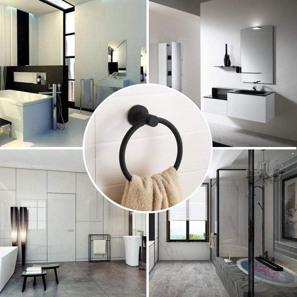 LULIN Brass Towel Ring,Black Finish Towel ring for Bathroom Accessories,Stainless Steel Rustproof Towel Rings For Kitchen Bath Towel Holder,Waterproof Towel Rack Round Towel Ring